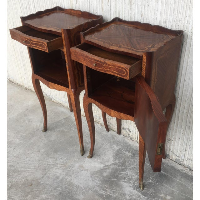 Pair of French Marquetry Walnut Bedside Tables With Drawers and Open Shelf For Sale - Image 9 of 13