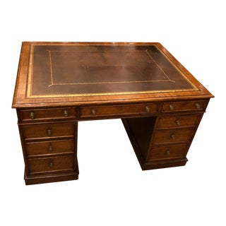 Classic Antique English Oak Leather Top Partner's Desk. For Sale