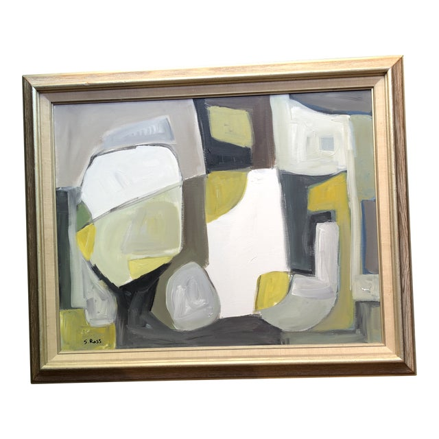 Original Contemporary Abstract Modernist Stewart Ross Painting Framed For Sale