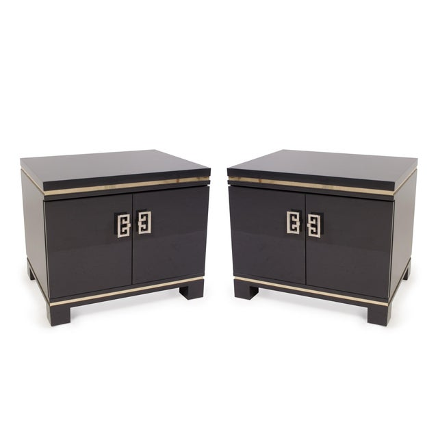 Mid-Century Grey Lacquer & Brass Greek Key Pulls Nightstands - Pair - Image 2 of 7