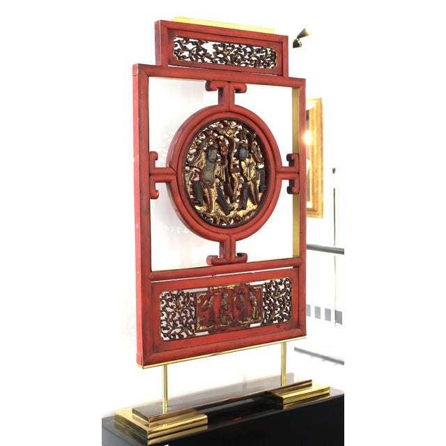 1970s Asian Modern Lacquer Screen Element Mounted on Stand Attributed to Karl Springer For Sale - Image 5 of 13