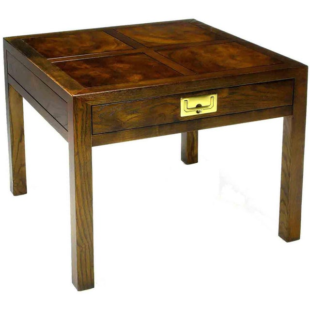 Henredon Campaign Parquetry Top Burl Walnut End Table For Sale In Chicago - Image 6 of 6