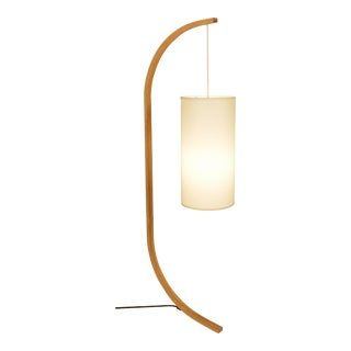 Pion Bent Oak Traditional Bulb Floor Lamp With Cloth Shade For Sale