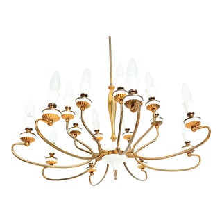 Arte Italian Brass Chandelier 16 Arms Two Tiered Midcentury Modern For Sale