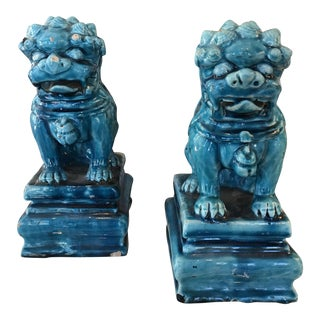 Vintage Turquoise Foo Dogs Figures - A Pair