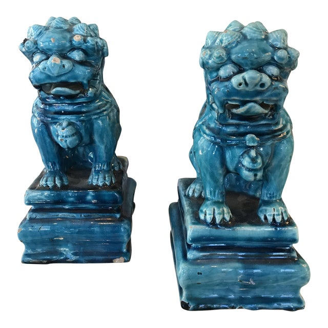 Vintage Turquoise Foo Dogs Figures - A Pair - Image 1 of 6