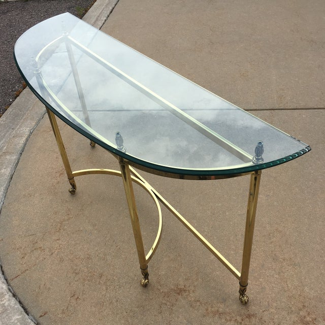 Mid-Century Labarge Brass & Glass Demi-Lune Console Table For Sale In Denver - Image 6 of 13