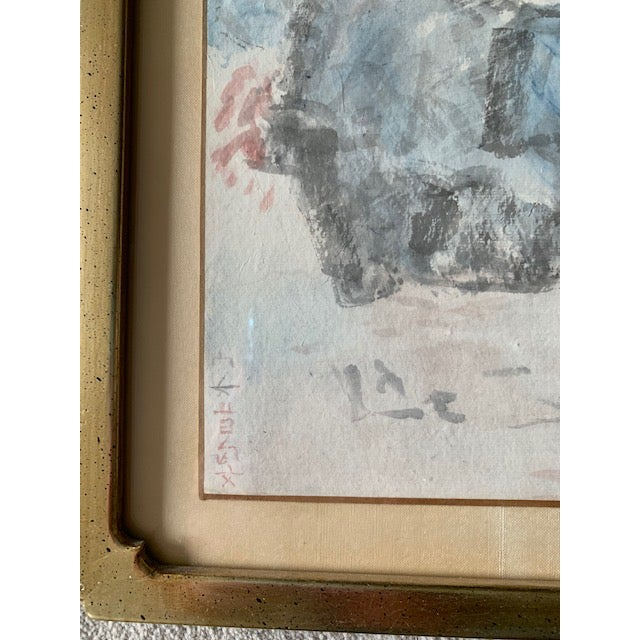 Glass Early 20th Century Antique Landscape Watercolor Paintings - Set of 4 For Sale - Image 7 of 10