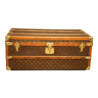 1920s Louis Vuitton Monogram Canvas Steamer Trunk, Louis Vuitton Cabin Trunk For Sale