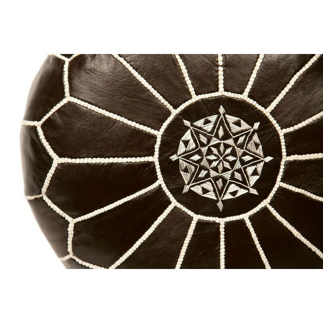 Embroidered Leather Pouf in Coffee - Image 2 of 3
