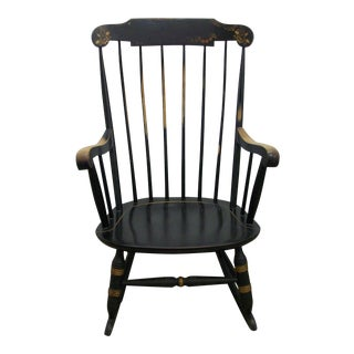1970's Vintage Black Nichols & Stone Painted Hitchcock Style Rocking Chair For Sale