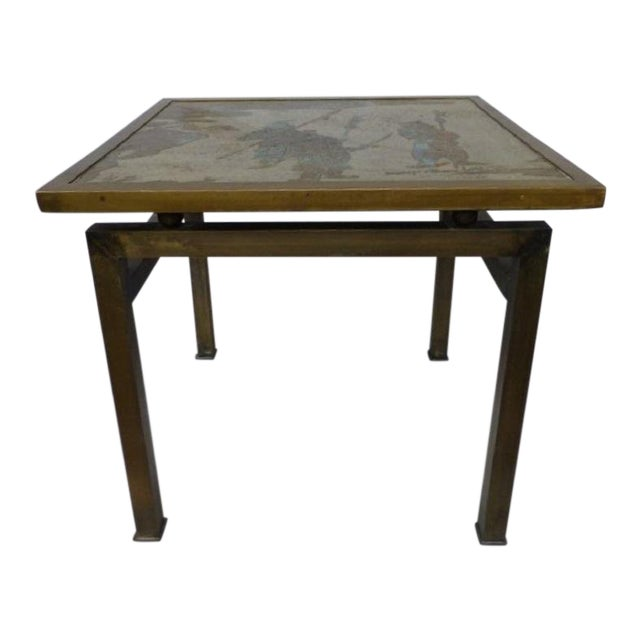 Phillip & Kelvin LaVerne Etched Bronze Side Table For Sale