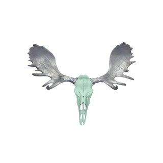 Wall Charmers Alberta Faux Mint Green + Silver Antlers Resin Antlers Resin Moose Head Skull