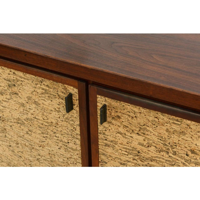 Gold Italian Modern Mahogany and Cork Four-Door Credenza or Buffet For Sale - Image 8 of 9