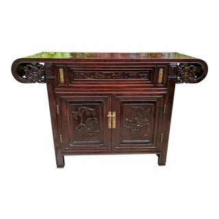 Antique Chinese Rosewood Altar Table Console Cabinet For Sale