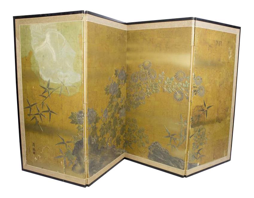 Japanese Handmade And Painted Four Panel Screen