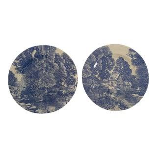 Vintage Blue & White Transferware Plates - A Pair