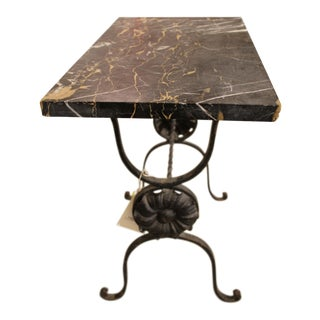 Vintage Black Marble Top Iron Table For Sale