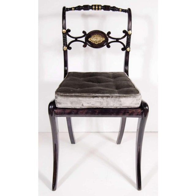 Hollywood Regency Elegant 1940s Hollywood Side Chair with Gilt Brass Accents For Sale - Image 3 of 8