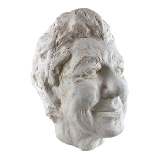 Late 20th Century Signed Ceramic Self Portrait Bust For Sale