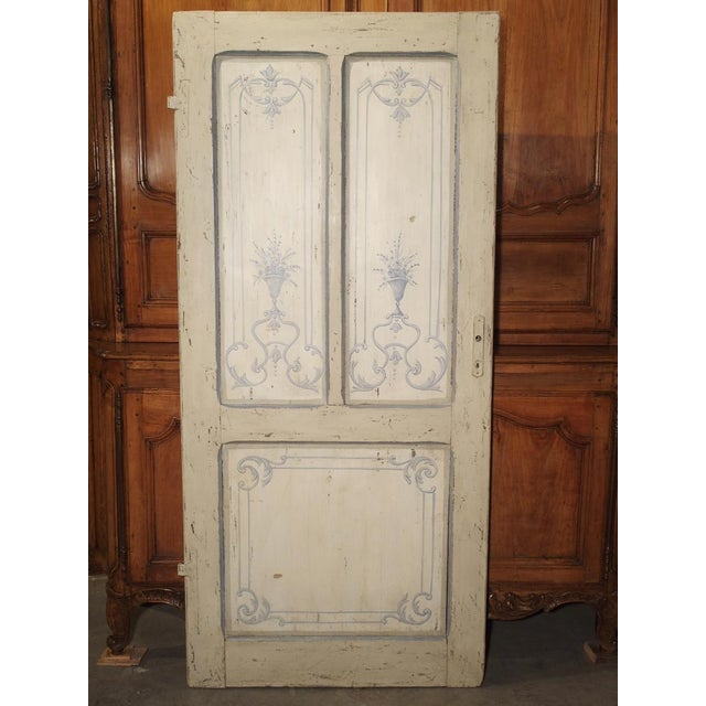 Blue and White Painted Antique Door From Lombardy, Italy Circa 1850 For Sale - Image 13 of 13
