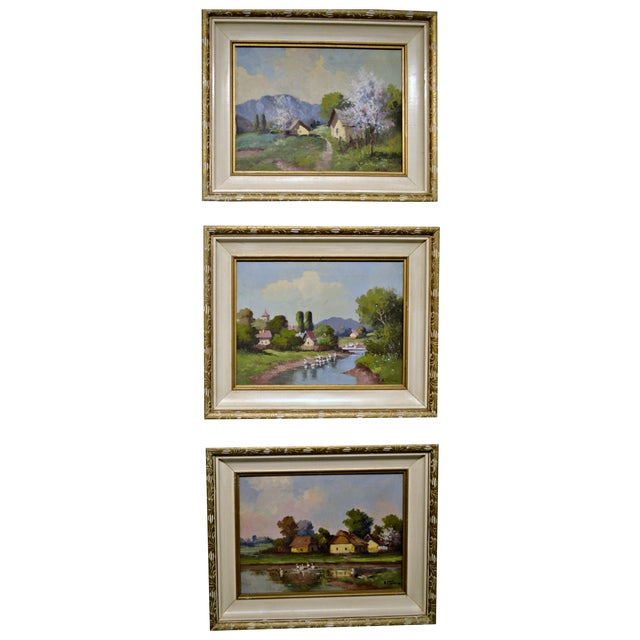 1950's Framed Canvas Triptych - Image 1 of 8