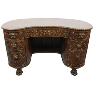 Late 19th Century Antique Carved Walnut Desk For Sale