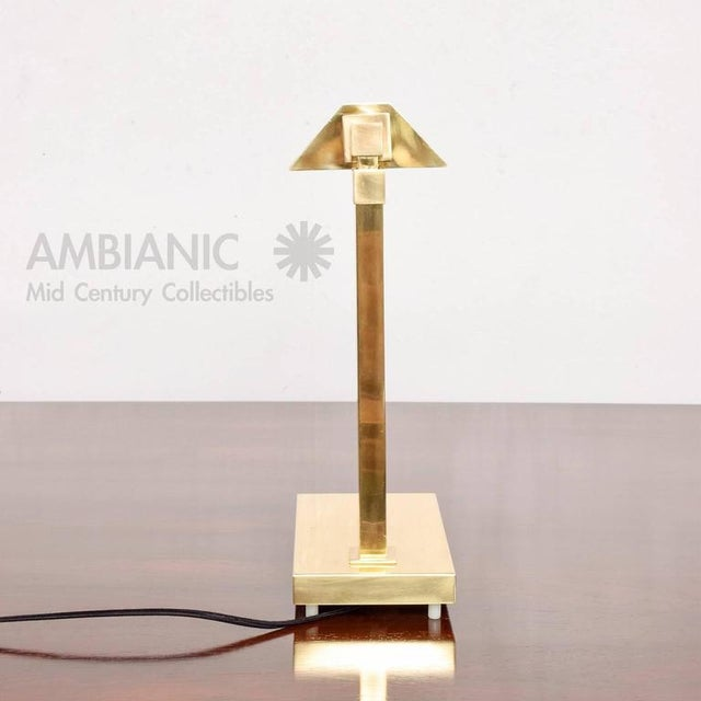 Mid-Century Modern Brass Table Desk Lamp For Sale - Image 4 of 9