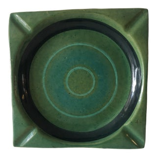 Large Vintage Italian Mid-Century Modern Blue and Green Ceramic Ashtray For Sale