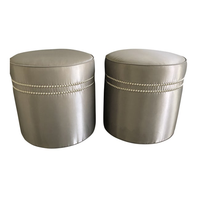 Modern Baker Furniture Jacques Garcia Ottomans- A Pair For Sale