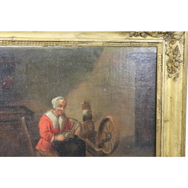 Canvas 18th Century Flemish Oil Painting on Canvas Woman Who Weaves For Sale - Image 7 of 12