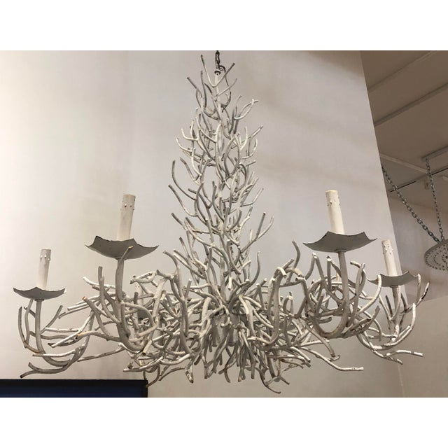 Large painted white faux coral chandelier with six arms. Just like the ones in Palm Beach off Worth Avenue! Timeless...