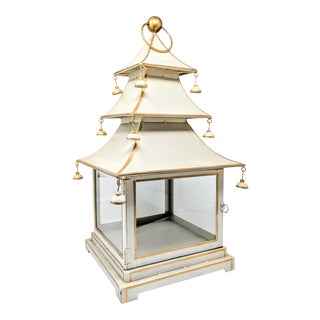 Asian Antiqued Three-Tier Tole Pagoda Lantern For Sale