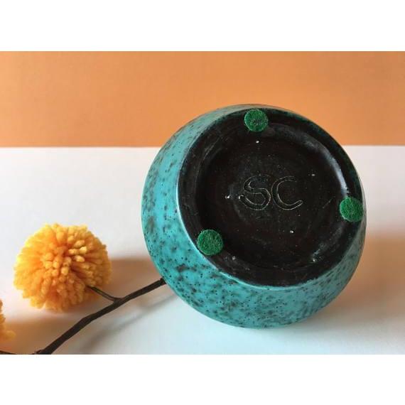 Vintage Chartreuse Green Stoneware Flower Vase For Sale - Image 5 of 6