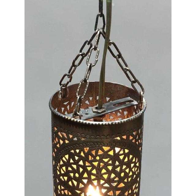 Pair of Moroccan Brass Pendants Lights with Moorish Filigree Designs For Sale - Image 9 of 13