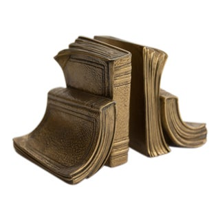 Mid-20th Century Brass Stacked Books Bookends - a Pair For Sale