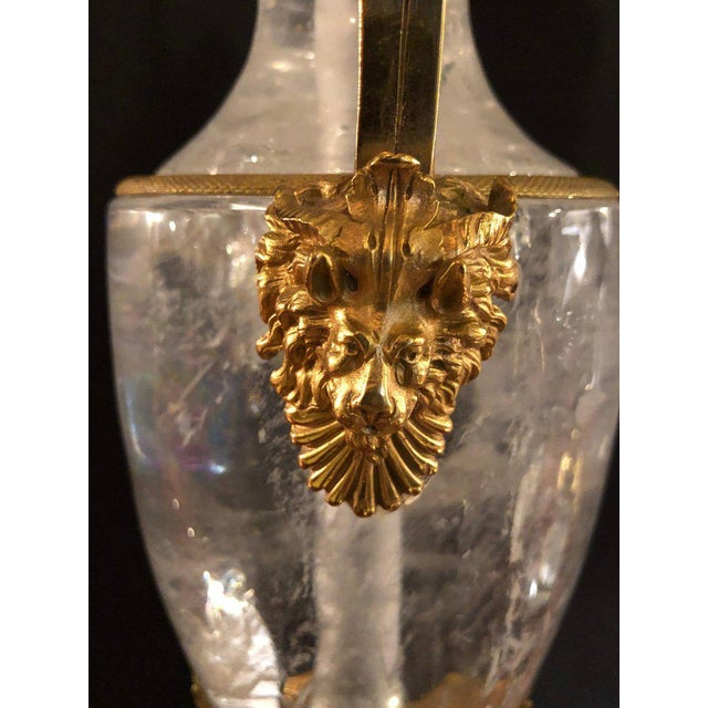 1960s Pair of Palatial Gilt Gold and Rock Crystal Urn Form Table Lamps For Sale - Image 5 of 13