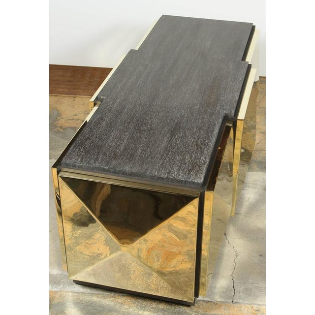 Paul Marra Brass Tile Cocktail Table/Bench For Sale In Los Angeles - Image 6 of 8