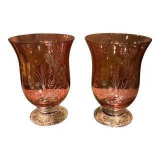 Mid Century Cranberry Etched Glass Hurricane Candle Holders - a Pair For Sale
