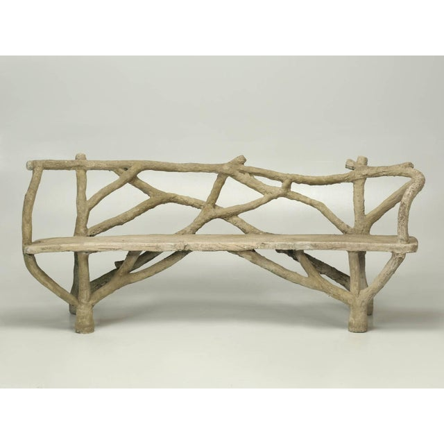 Antique French Faux Bois or Concrete Bench Attributed to Edouard Redont For Sale - Image 10 of 10