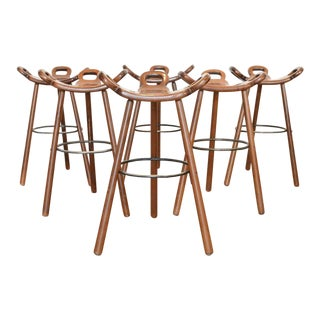 Spanish Brutalist Barstools, 1950's - Set of 7 For Sale