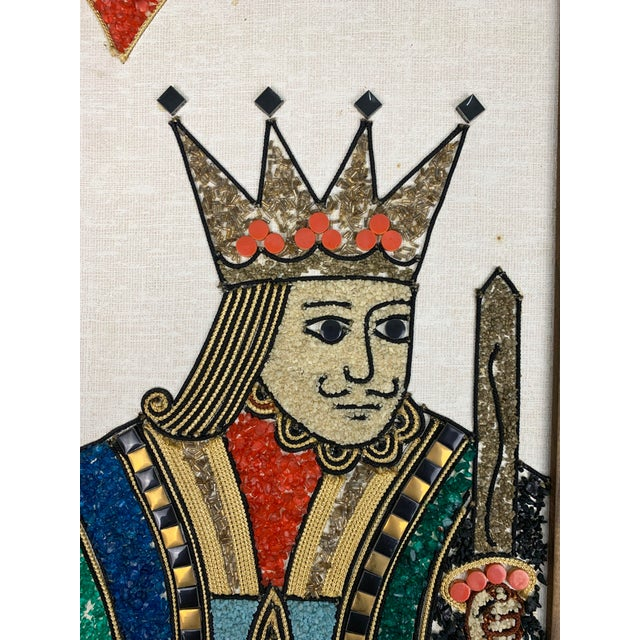 Vintage gravel art wall panels in the style of King + Queen playing cards, circa 1970s. King of Diamonds + Spades and the...