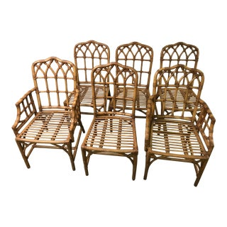 Set of 6 Hollywood Regency Bamboo Gothic Chippendale Chairs
