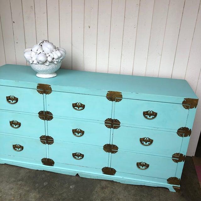 Antique Korean Dresser Campaign in Tiffany Blue For Sale - Image 11 of 12