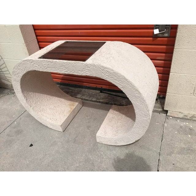 Asian Vintage White Plaster Waterfall Shape Console Table For Sale - Image 3 of 4