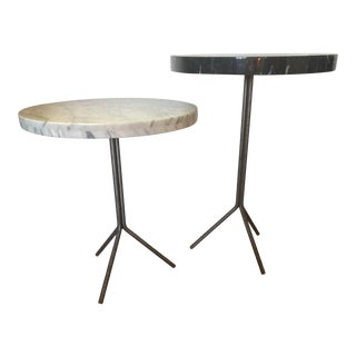 Modernist Nesting Marble Side Tables - A Pair For Sale