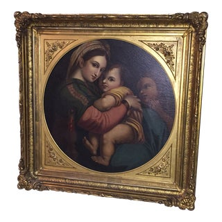 19th Century Madonna Large Oil Painting For Sale