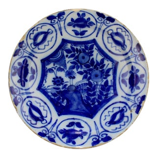 Antique 18th Century Dutch Delft Pottery Chinoiserie Charger or Plate For Sale