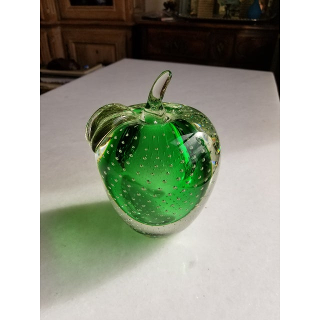 Great Emerald green blown Murano art glass apple with controlled bubble interior design.