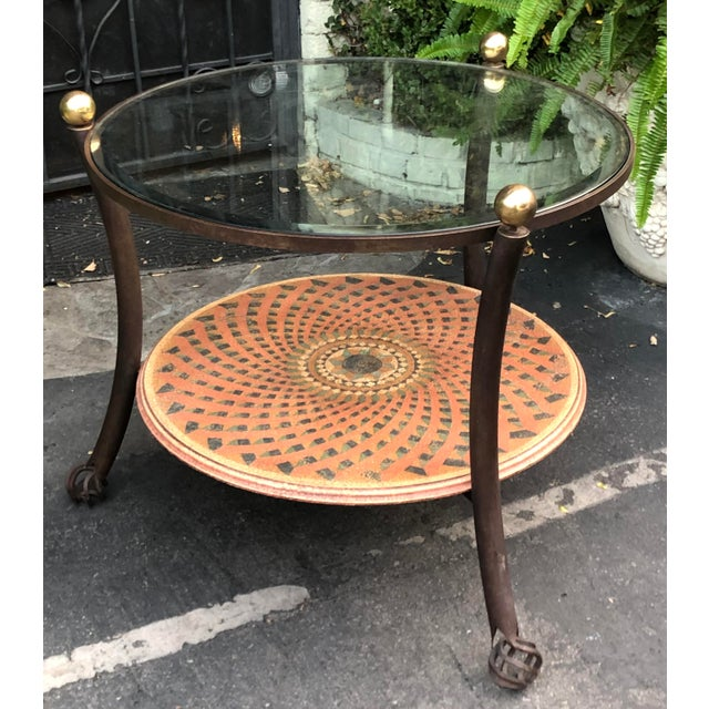 Vintage 1980's Modern Round Wrought Iron & Beveled Glass Side Table For Sale - Image 4 of 4